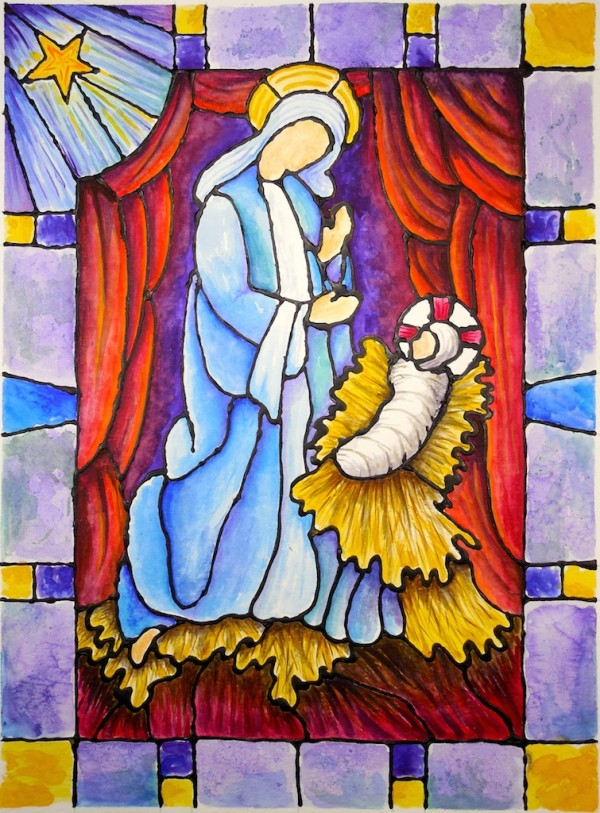 Level IV-Lesson 8: The Stained Glass Nativity Window (Online Art Lessons for Kids | ArtAchieve)