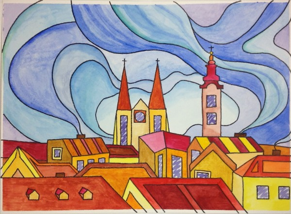 Level IV-Lesson 9: The Rooftops of Zagreb (Online Art Lessons for Kids | ArtAchieve)