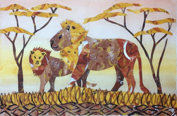 Level V-Art Lesson 5: The Lion Collage from Kenya